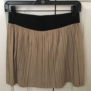 BCBG champagne velvet mini skirt